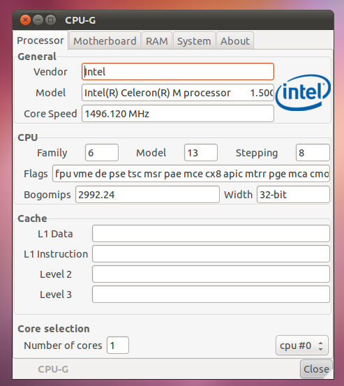 A Simple CPU Details Viewer for Ubuntu - CPUG