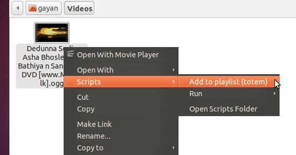 How to Add files from Nautilus to Totem Playlist in Ubuntu?