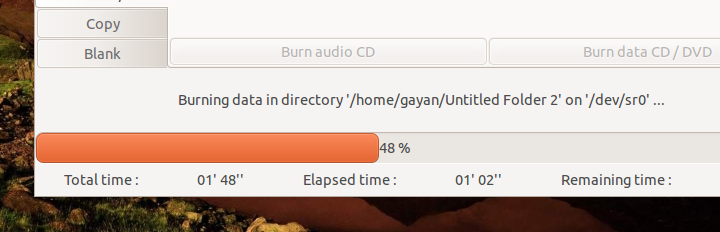 Simple & Fast Loading CD/DVD Burning App for Ubuntu Linux