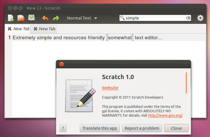"""Extremely Simple Text Editor for Ubuntu 11.10 – """"Scratch!"""""""