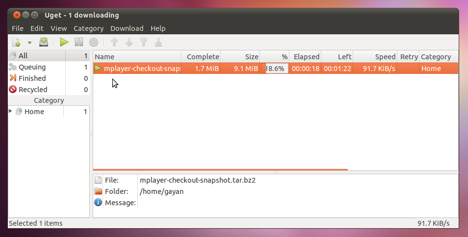simple manager for ubuntu linux uget
