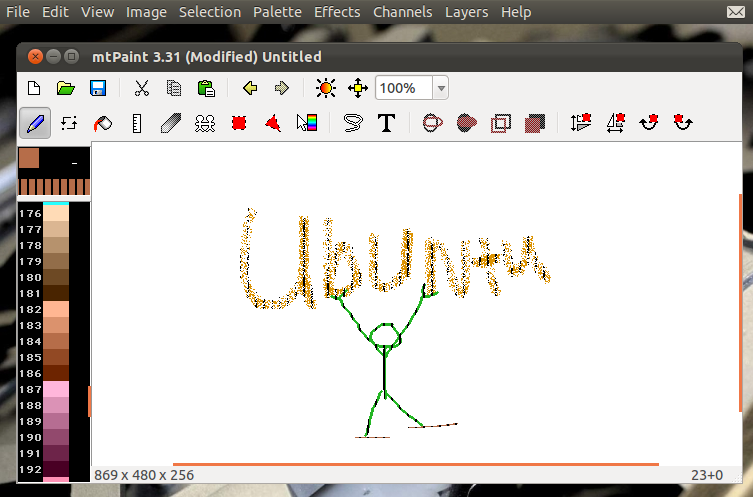Lightweight pixel art painting app for ubuntu linux mtpaint Paint for linux