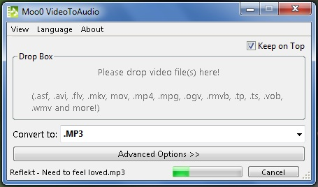 Moo0-VideoToAudio-running-in-Windows-7