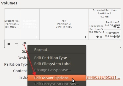 Accessing advanced options in 'Gnome Disks'