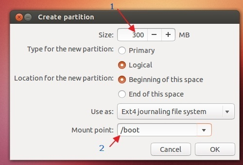how to create new partition during installation ubuntu