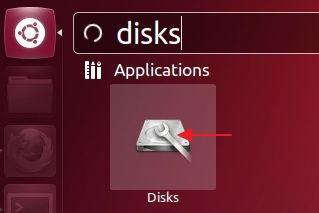 Searching for 'Disks' utility in Ubuntu 12.10