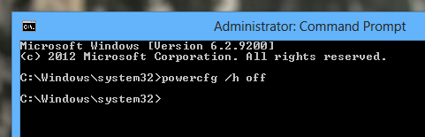 Black output in 'command prompt' after disabling hibernation file - Windows 8
