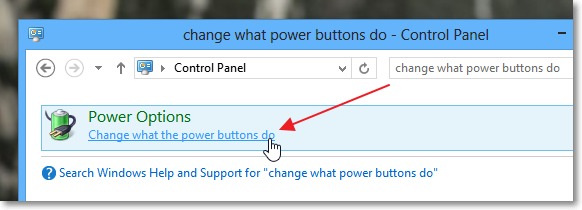 Opening 'change what power buttons do' option in Windows 8 control panel