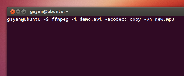 Using 'ffmpeg' to extract an audio track in Ubuntu 12.10