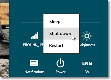 Using the 'Shift' keyboard shortcut for 'full shutdown' - Windows 8