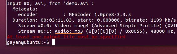 'ffmpeg' showing the audio codec of a file