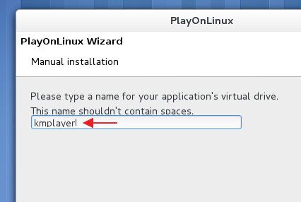 Giving a name to the virtual drive - 'PlayOnLinux'