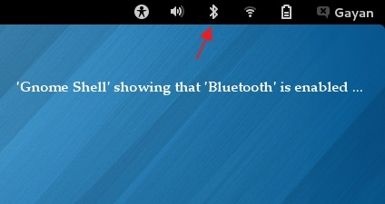 'Gnome Shell' notifying that 'Bluetooth' is enabled - Fedora 18