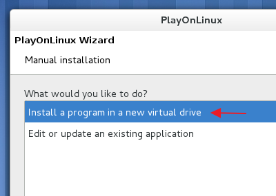Installing the program into a new virtual drive  - 'PlayOnLinux'