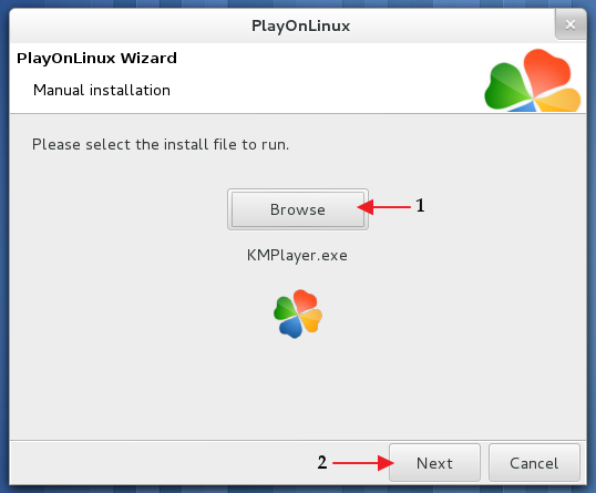 Manually locating the 'KMPLayer' setup file - 'PlayOnLinux'