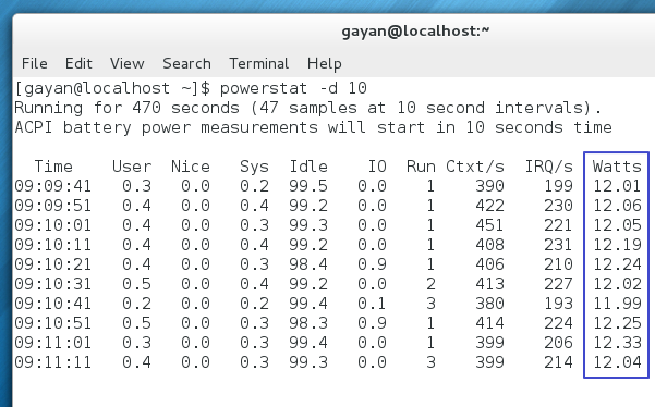 Power consumption, after installing 'tuned' - Fedora 18