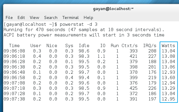 Power consumption, before installing 'tuned' - Fedora 18