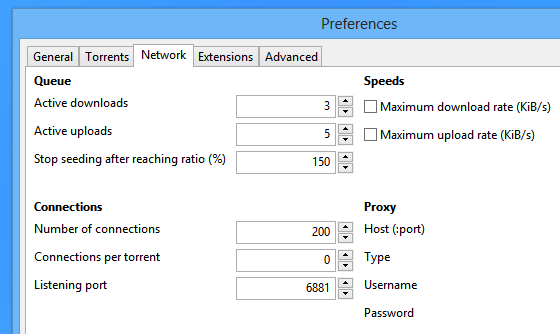 'Preferences' windows of 'baretorrent' client