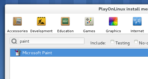 Selecting an applications from the 'playonlinux' install menu