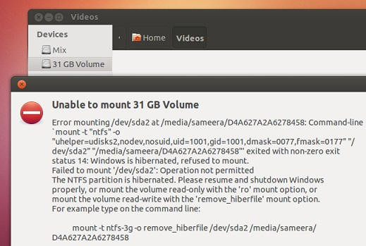 Ubuntu 12.10 giving mounting error for Windows 8 volume that has 'hibernation' enabled