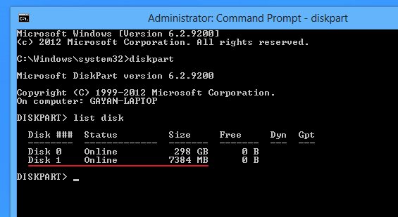 Using-diskpart-for-listing-attached-disc-drives