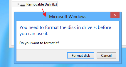 Windows 8 asking for the permission to format the usb flash drive partition created using 'diskpart'