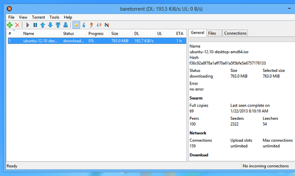 'baretorrent' running on Windows 8