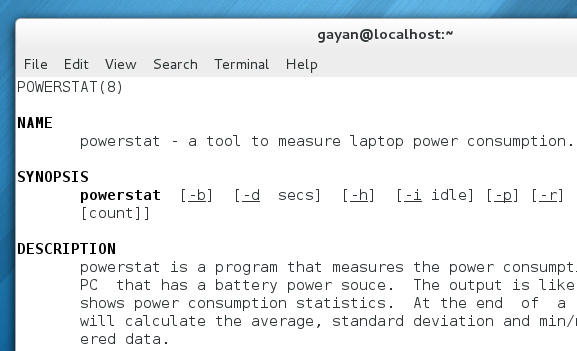 powerstat's manual opened in Fedora 18