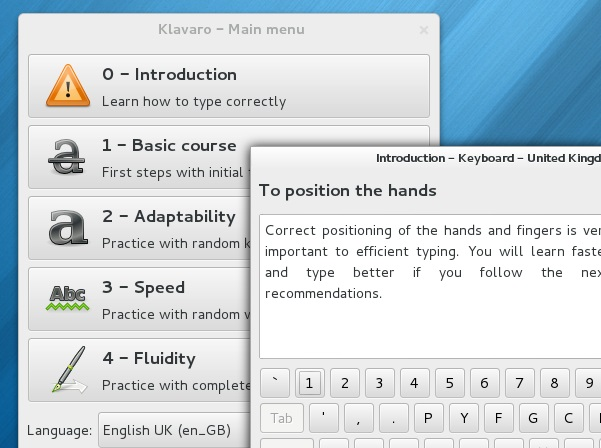 'Klavaro' running on Fedora 18