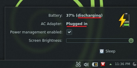 Battery & AC adapter indication issues in 'openSUSE 12.3 KDE'