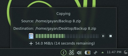 Beautiful file copy indicator in 'openSUSE 12.3 KDE'