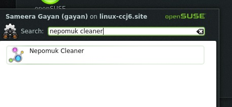 Searching for 'nepomuk cleaner' on 'openSUSE 12.3 KDE'