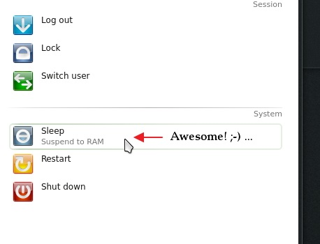 Selecting 'Sleep' mode in 'openSUSE 12.3 KDE'