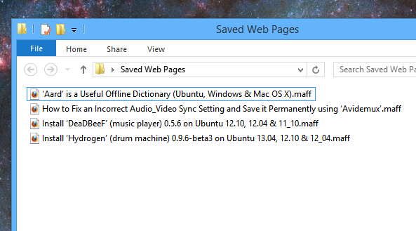 Windows 8 showing few saved web pages using the 'MAFF' format