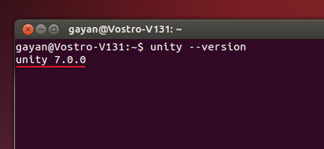 Gnome Terminal emulator displaying Unity 7.0