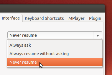Change resuming settings in Gnome Mplayer 1.0.9a
