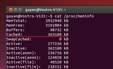 Using Terminal to find 'page cache' size on Ubuntu 13.04