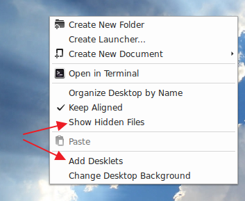 New menu items in Cinnamon desktop context menu - LM 15