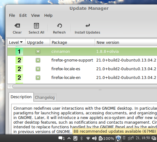 'Update Manager' running on Linux Mint 15 Cinnamon