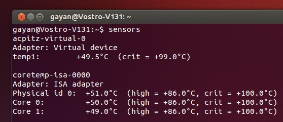'sensors' output on Ubuntu 13.04