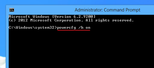 Enabling 'hybrid boot' using 'cmd' on Windows 8