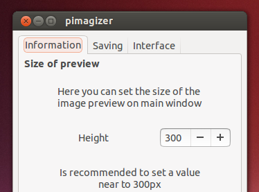 'Preferences' window - 'Pimagizer'