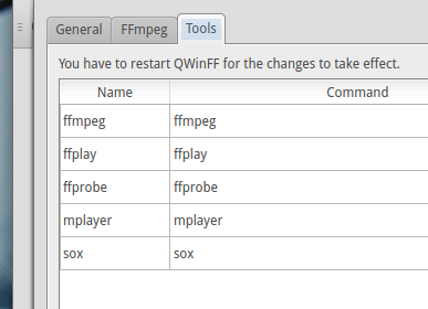 Change program executable settings  - 'QWinFF' 0.1.9