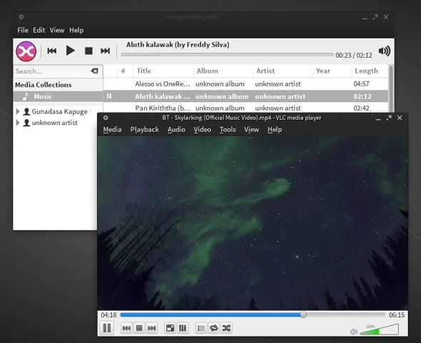 VLC & Xnoise running on Manjaro 0.8.7.1