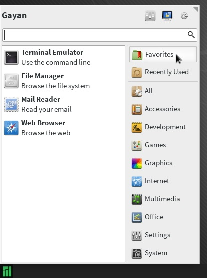 'Whisker' menu running on Manjaro 0.8.7.1