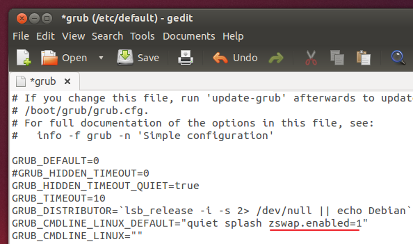 Enabling 'Zswa' using GRUB configuration file - Ubuntu 13.10