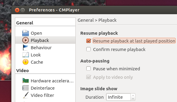 'Preferences' window of 'CMPlayer' 0.8.1