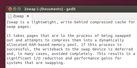 'Zswap' summary (Gedit document)