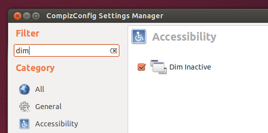 Searching 'Add Helper - Dim Inactive' plugin on CCSM - Ubuntu 13.10