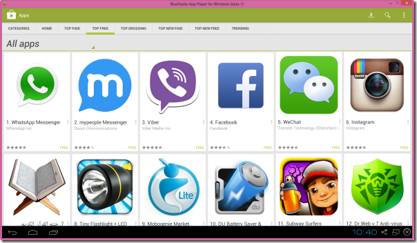 Android apps in Windows 8.1 by Bluestacks